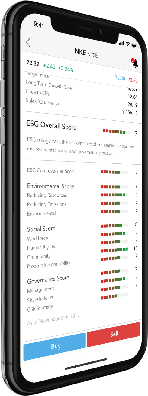 iPhone X showing ESG sample screen